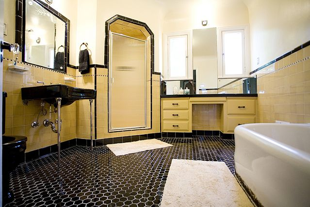 Black tile floor | Remodel | Pinterest | Bathroom, Retro ...