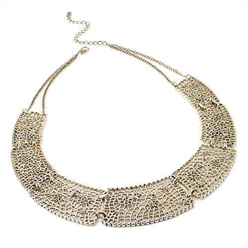 Vintage inspired-Collana da donna a colletto, colore oro