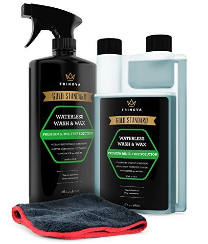 Waterless Car Wash and Wax Kit - Bug and Sap Remover -- Clean and Protect Paint of Truck, SUV, Boat, RV or vehicle with one Quick Application. Concentrated formula for best value. TriNova.. For product info go to:  https://www.caraccessoriesonlinemarket.com/waterless-car-wash-and-wax-kit-bug-and-sap-remover-clean-and-protect-paint-of-truck-suv-boat-rv-or-vehicle-with-one-quick-application-concentrated-formula-for-best-value-trinova/