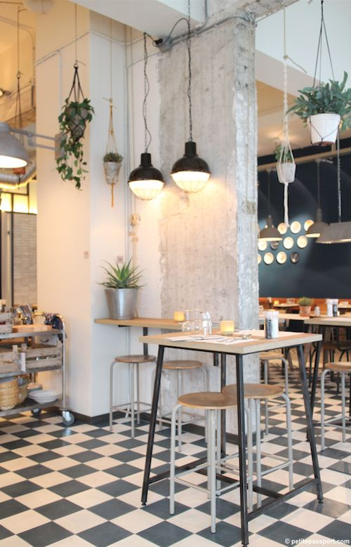 De Pasta Kantine Rotterdam by Petite Passport (I have this same flooring, love how it looks with the industrial chic decor).
