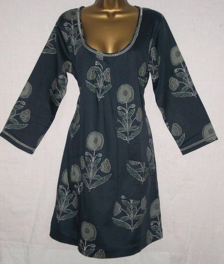 NEW White Stuff Dark Teal Blue Green Boho Floral Tunic Dress 8 10 12 14 16 18 | eBay