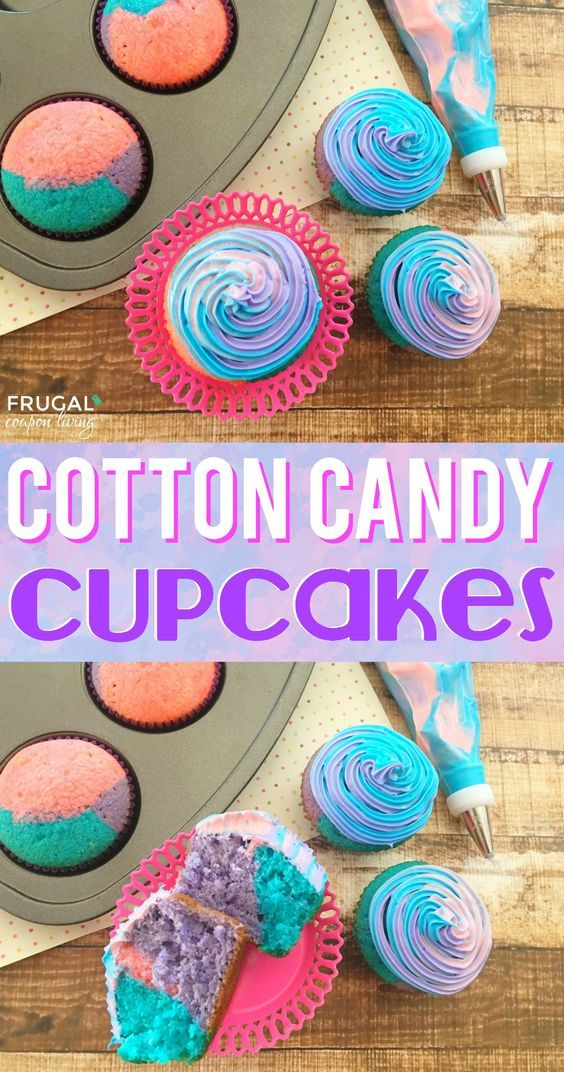 Cotton Candy Cupcakes - perfect cupcakes ideas for a party or summertime gathering. Tastes like REAL Cotton Candy and colored to be fun and festive! Details on Frugal Coupon Living.