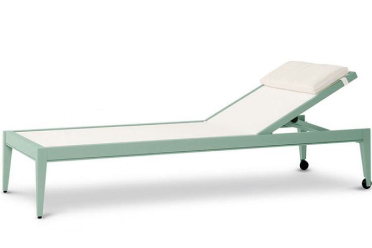 "DuVal Yacht chaise longue by McKinnon and Harris, with powder-coated aluminum frame available in a range of colors, including Lancaster-blue (shown), 81"" l. x 32"" w. x 15"" h., to the trade. mckinnonharris.com, 804-358-2385"