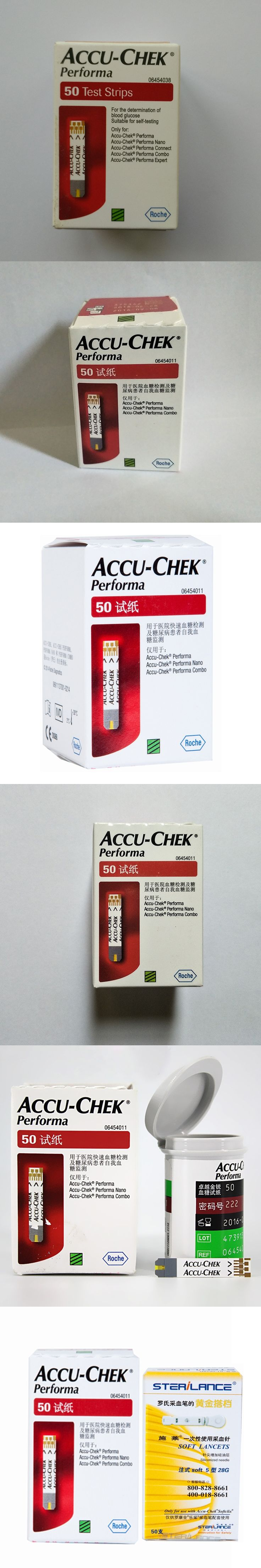 Hot Sale Accu-Chek Performa Blood Glucose Meter Test Strips 50pcs with Expiry 02. 2018 + Free Lancets 50pcs For Health Care