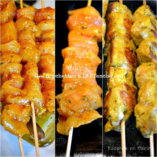 Plancha poulet - Brochettes de poulet mariné au curcuma et cuisson à la plancha sur Kaderick en Kuizinn #plancha #poulet #curcuma