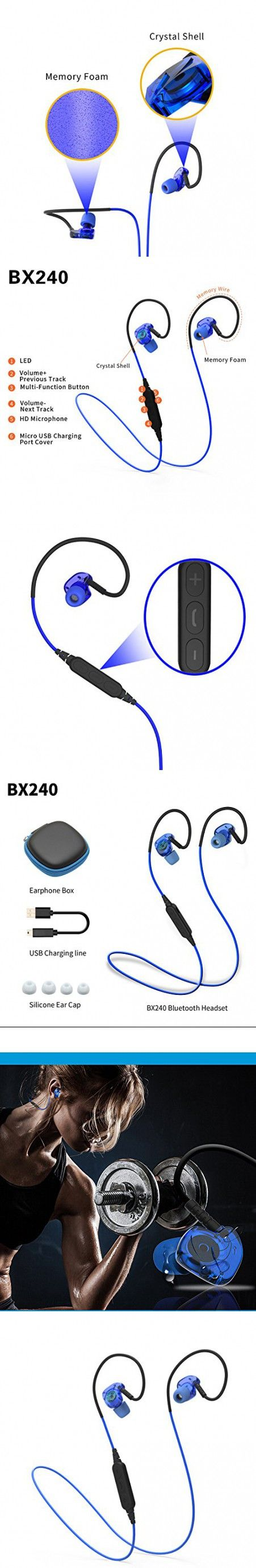 XIONG Wireless Bluetooth 4.1 Fitness Headphones Stereo Water Proof Headphones Noise Cancelling Earbuds for running,Gym (Blue)