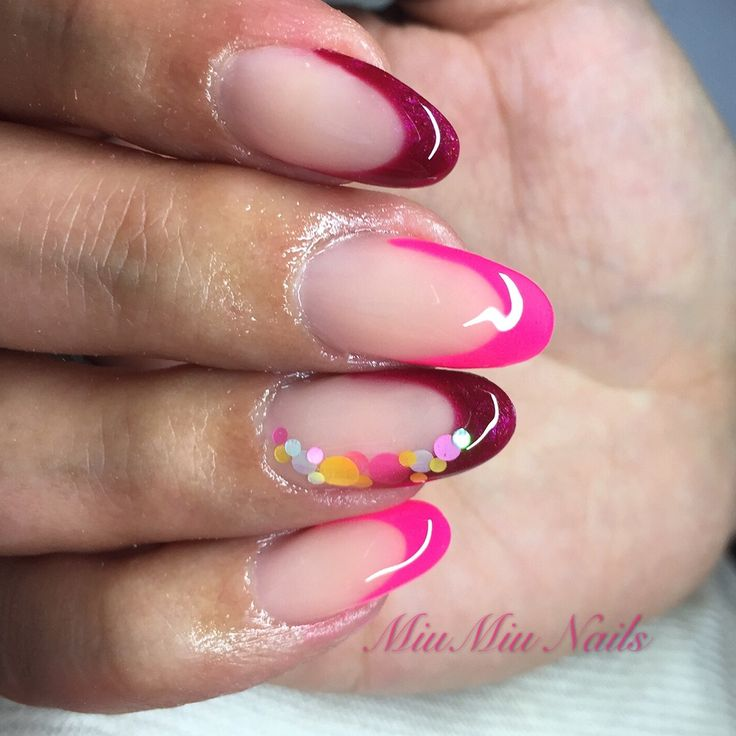 Neon pink and darkred french nails