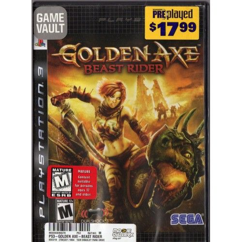 PS3 | Golden Axe Beast Rider | Playstation 3 | SEGA | Rated M MATURE 17+ | $7.99