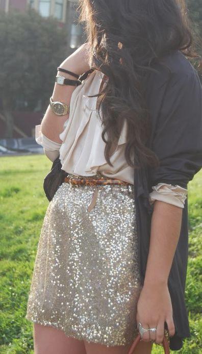 blazer + silk blouse + sequin skirt