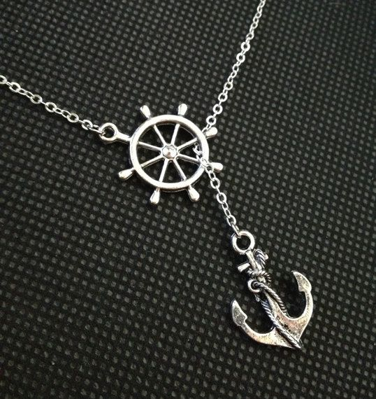 Anchor Necklace Nautical Necklace Beach Wedding door pier7craft, $9.50