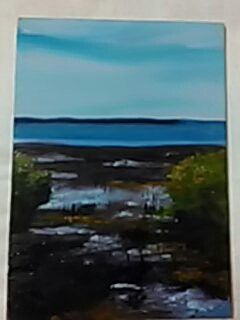 Wynnum foreshore, using a palette knife to add texture.