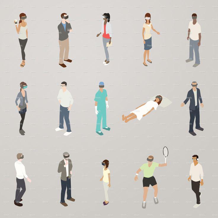 Virtual Reality People Illustration stock vector art 93033341 - iStock