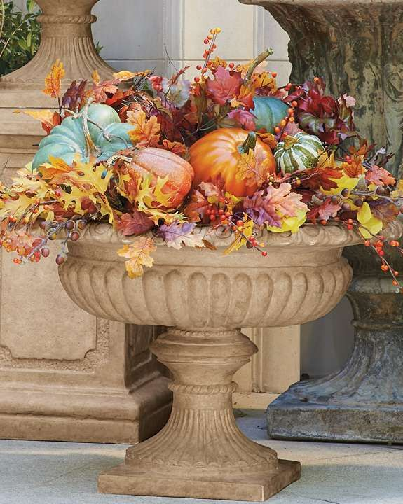 Grace your porch or outdoor space with Grecian style and ambiance while displaying your favorite fall foliage in the Athens Urn.