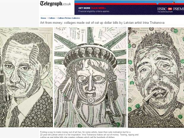 com notas de dólar.
