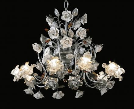 Chandelier in ceramic with Swarovski and Murano glass