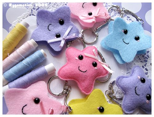 Handmade lucky stars keychains by Zygomatics  #cute #kawaii #star #pastel #craft #handmade #felt