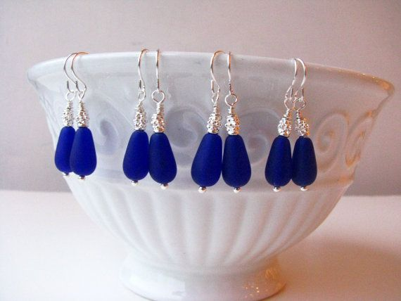 bridal party gifts? or just to wear with dresses?  Wedding Jewelry Cobalt Blue Sea Glass Earrings by BostonSeaglass, $16.00