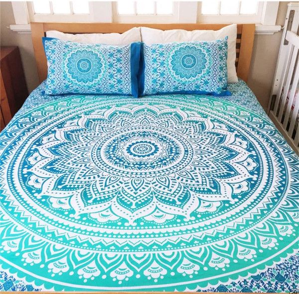 """Mandala Queen Bed Cover -w- Pillow covers Material - 100% Cotton FabricPrints - Hand Screen PrintedColors - As shown in PictureSize - 94"""" X 84"""" Inch Weight - 0."""