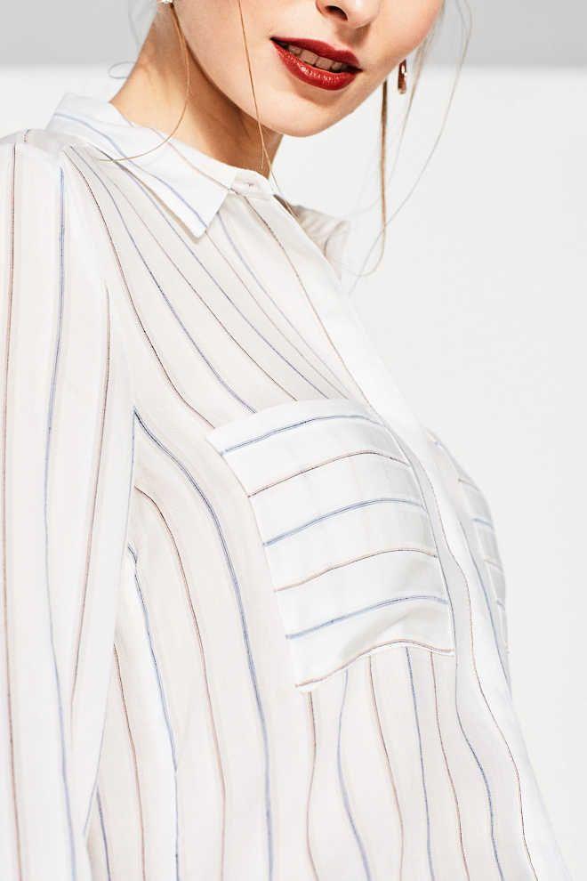 Esprit / Zachte, lange blouse met fijne strepen