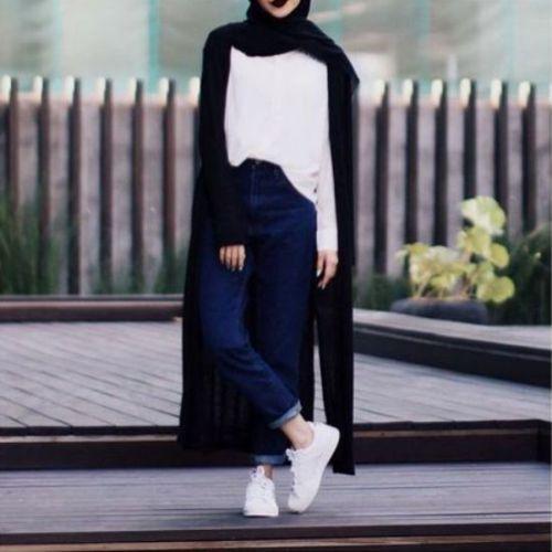 long black cardigan hijab outfit- Beautiful hijab trends 2016 http://www.justtrendygirls.com/beautiful-hijab-trends-2016/
