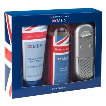 Men's Kick Start Kit - £15. Contents; Citrus & Clove Face Wash 200ml, Lime & Basil Body Wash 240ml,1 x Water Resistant Shower Radio. The perfect gift for a Father - letting him wake up to a refreshing shower with the body wash and face wash in citrus scents whilst kick starting the day with the latest news update on a water resistant shower radio