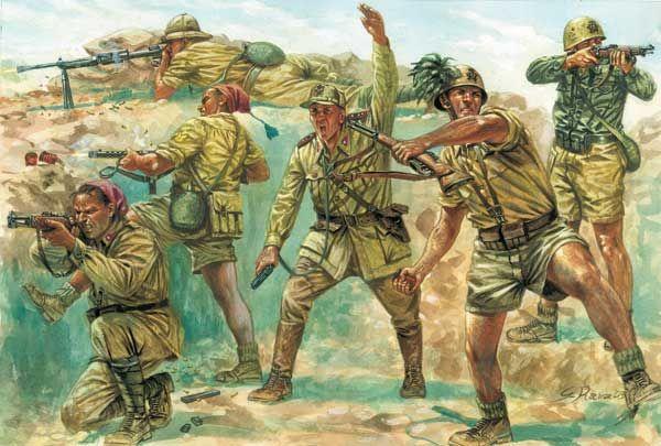 Bersaglieri in nord Africa in una trincea difensiva.
