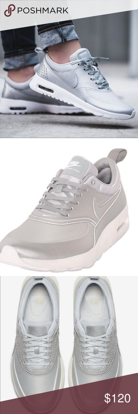 NIKE AIR MAX THEA Premium Metallic Platinum Brand: Nike Gender: Unisex Sport: Lifestyle Shoes Color: Metallic Platinum/Sail/Pure Platinum Sku: 904500-004  Size: 8.5 New with tag, no box Trending item  The Nike Air Max Thea Premium Leather Women's Shoe modernises a breakthrough running profile for everyday comfort with a sleek, minimal look and the classic cushioning that made the original famous. Nike Shoes Athletic Shoes
