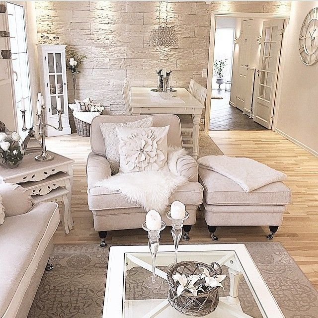 White And Silver Living Room Inspo