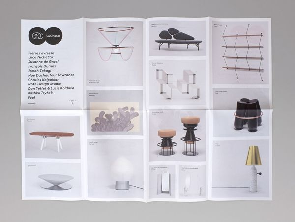 Fold-out catalogue for furniture and lighting company La Chance designed by Artworklove.