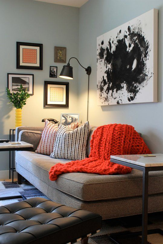 LOVE Love love this orange knit blanket... knit in a bulky yarn on big needles... gorgeous shade of orange!
