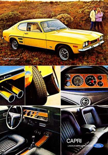 Ford Capri Interior Panel Seats Exterior (1972).  One of my favorite cars of all time.  I had a '76 and an '81 model.  Both 2.0 ltrs.  One a four banger the other a six.