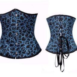 Azul y negro con estampado redondeado
