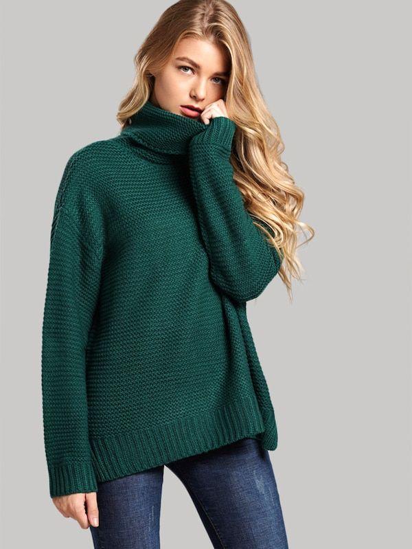 Split Side High Neck Sweater -SheIn |Winter Outfits Casual Classy 2018 winter outfits | winter outfits casual | winter outfits for work | winter outfi…