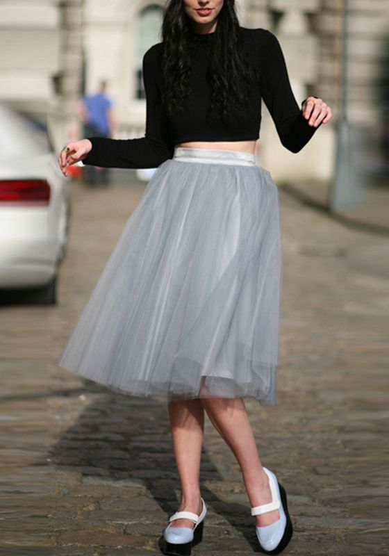 3c51697ae5a322 Grey Grenadine High Waisted Plus Size Fluffy Puffy Tulle Tutu Party Midi  Skirt