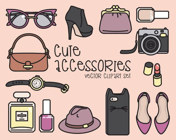 Premie Vector Clipart - mooie accessoires Clipart - Kawaii Fashion Clip Art Set - hoge kwaliteit vectoren - Instant Download - Kawaii Clipart
