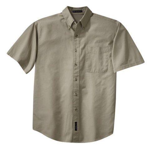 Port Authority Men's Big & Tall Short Sleeve Twill Dress Shirt, Bright Burgundy, Large. S500T