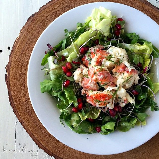 Lobster Salad with Lemon Herb Aioli with Fresh Greens & Pomegranate Seeds // The Simple Taste. Find this #recipe and more on our Feast Of The Seven Fishes Feed at https://feedfeed.info/feast-of-the-seven-fishes?img=486747 #feedfeed