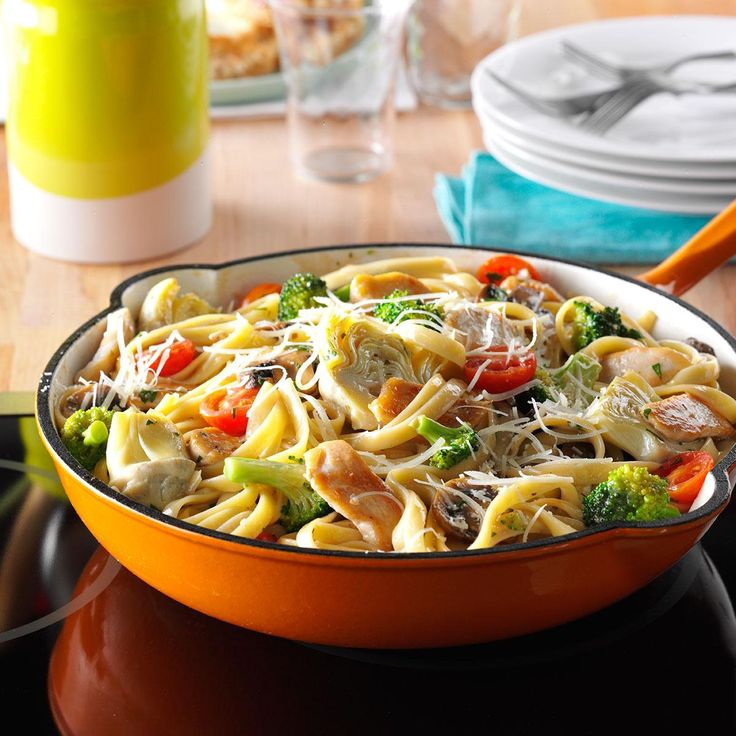 Artichoke Chicken Pasta Recipe -Here's a colorful, delicious chicken dish that's easy enough for weeknights, yet special enough for guests. Oregano, garlic and a light wine sauce add lovely flavor. —Cathy Dick, Roanoke, Virginia