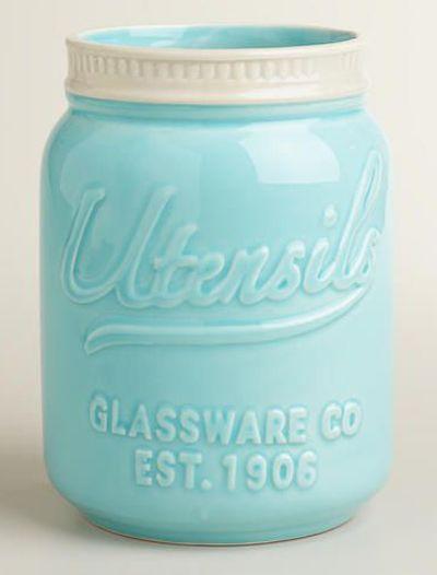 http://www.idecz.com/category/Utensils/ Mason Jar Ceramic Utensil Crock
