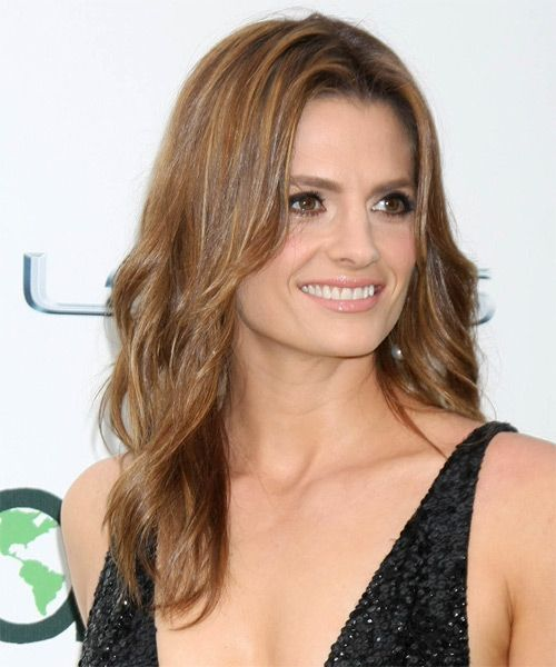 Stana Katic Long Straight Casual Hairstyle   Light Brunette Hair Color