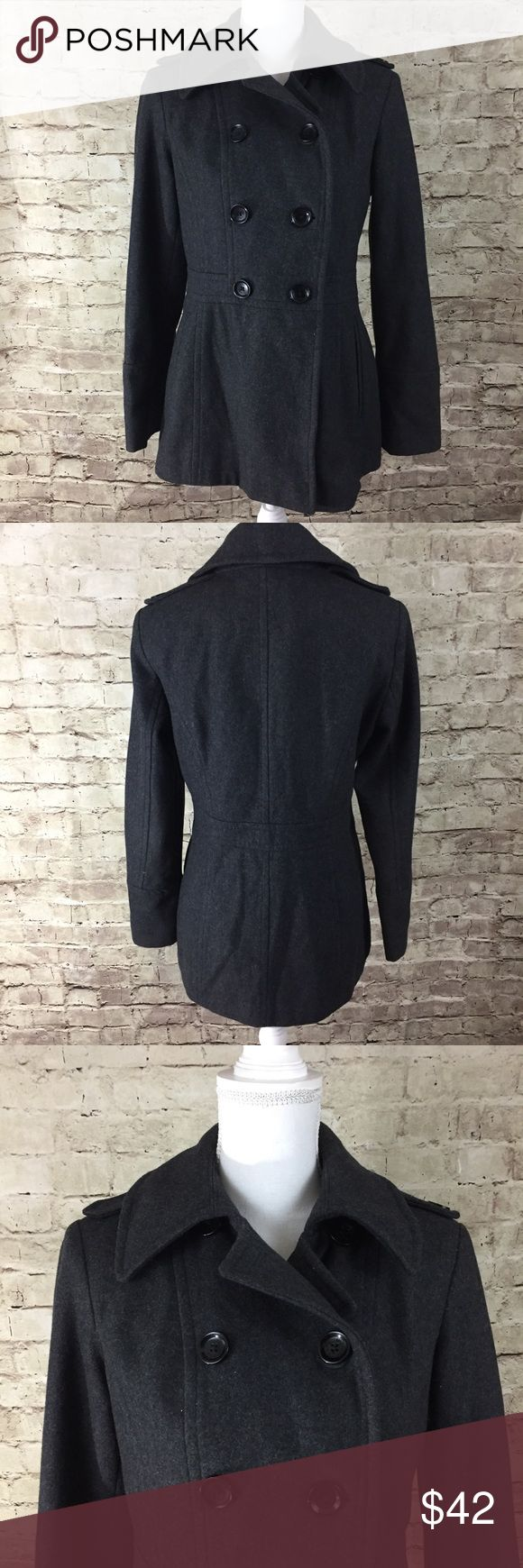 MICHAEL Michael Kors Grey Pea Coat Charcoal grey wool blend pea coat in gently used condition. Fully lined with functional front buttons and pockets. Only flaw is missing one decorative button on the shoulder area. MICHAEL Michael Kors Jackets & Coats Pea Coats