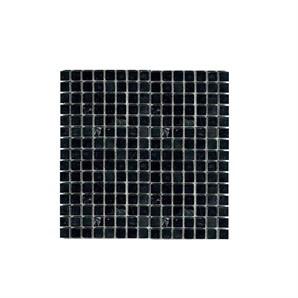 Mosaic tile splashback behind basin