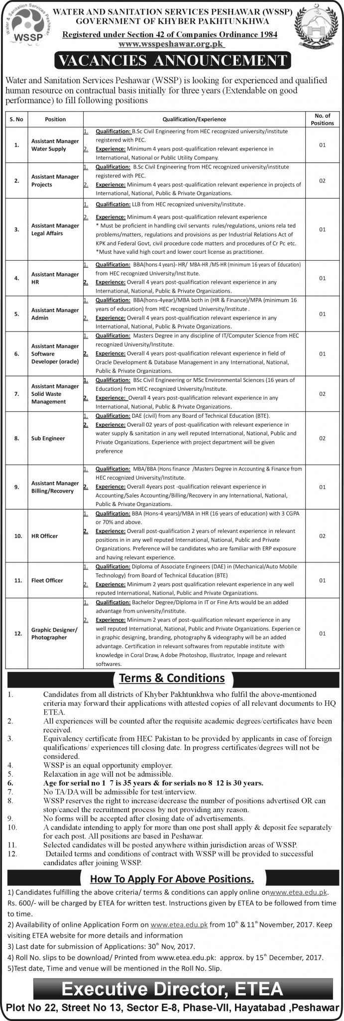 Water And Sanitation Services Peshawar WSSP Jobs 2017 For Assistant Managers And HR Officer http://www.jobsfanda.com/water-and-sanitation-services-peshawar-wssp-jobs-2017-for-assistant-managers-and-hr-officer/