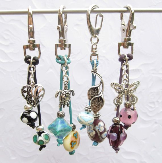 Bag charm key chain blue ivory lampwork silver by THEAjewellery
