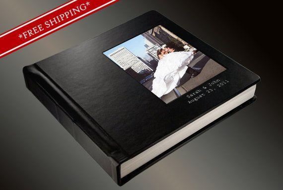 Photo Album Flush Mount Wedding Album with 2 lines of Imprinting - Custom Photo Album 10 x 10 Leatherette Cover- Wedding Album by TheDesignsEnchanted