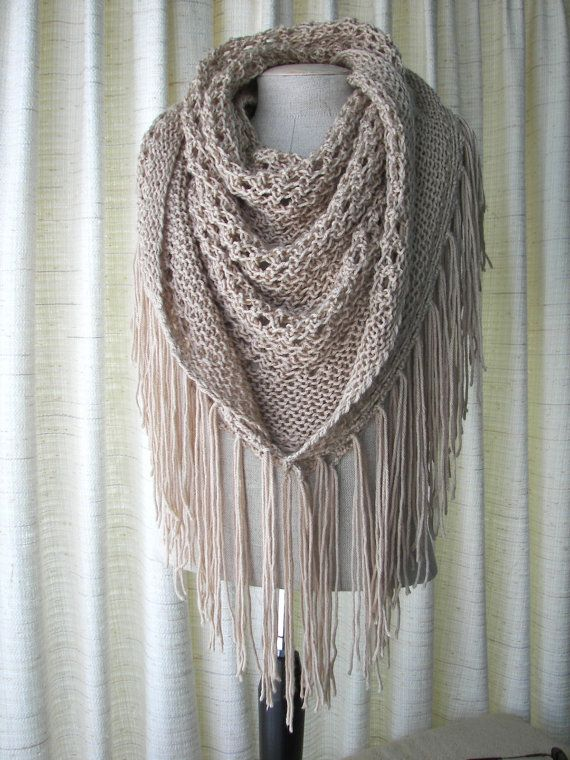 CAPPUCCINO Hand Knit Shawl Triangle Scarf Fringes in by ATIdesign
