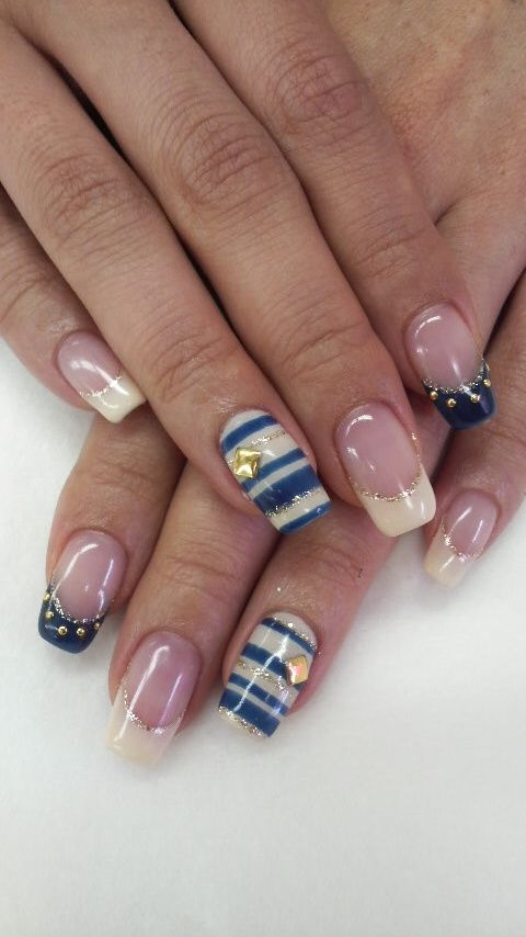 Nude, Blue, and Gold with Strips and Jewels Nail Art Design