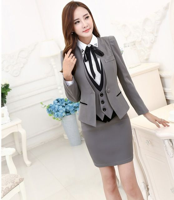 Plus Size Autumn Winter Formal Professional Business Suits 3 pieces Jackets + Skirt + Vest Ladies Blazers Outfits Set OL Styles US $57.68-60.44 /piece    CLICK LINK TO BUY THE PRODUCT  http://goo.gl/oYWEYs