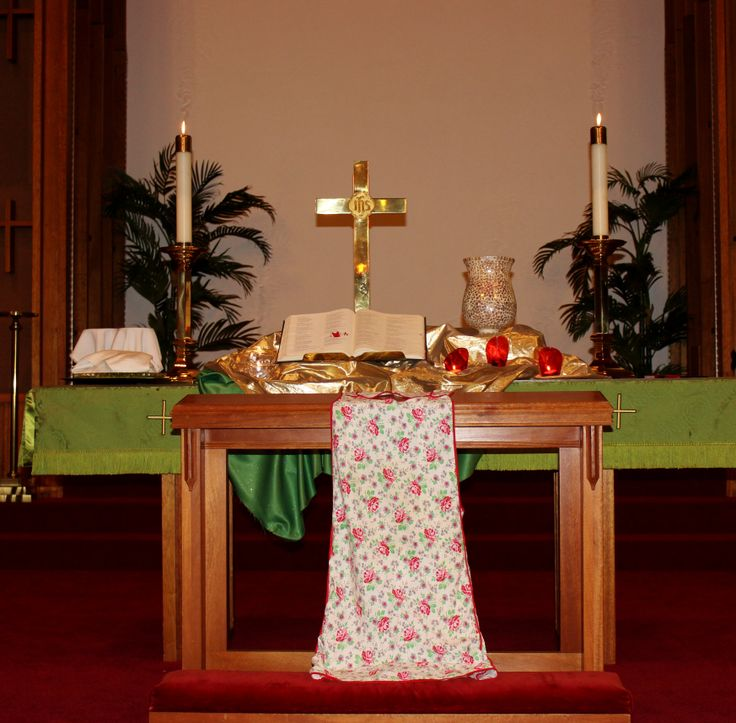 """Church Altar Decorations: Altar For 5/11/14 (Mother's Day), """"Awe & Sharing,"""" MUMC"""
