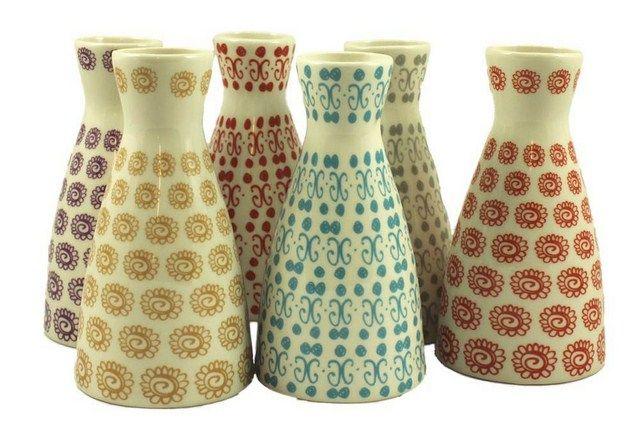 Vaser med mønster i forskellige farver fra Ib Laursen - halv pris af normal prisen!  http://www.tankestrejf.dk/porcelaens-vase.html